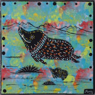 6 inch clay tile with javelina on turquoise blue by Mana Pottery