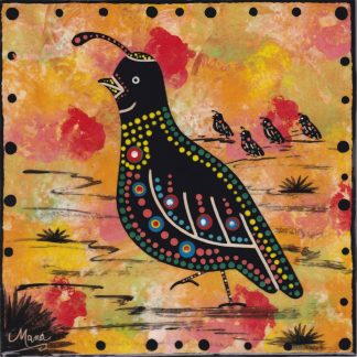 6 inch clay tile with quail on gold, by Mana Pottery