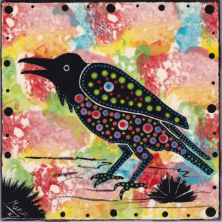 6 inch clay tile with raven on confetti, by Mana Pottery