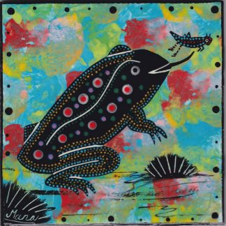 6 inch clay tile with toad on turquoise blue by Mana Pottery