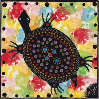 6 inch clay tile with turtle on confetti by Mana Pottery