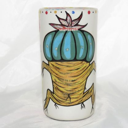 Clay tumbler featuring Dancing Peyote on one side and Aravaipa vegetation on reverse, by Mana Pottery