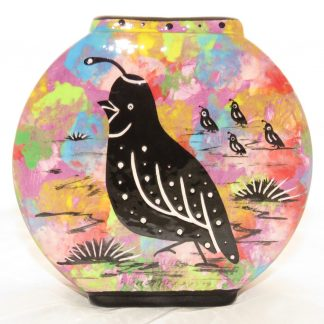 Pillow vase with quail on one side and native Aravaipa vegetation on the other on turquoise blue, by Mana Pottery