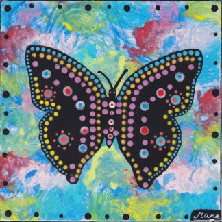 Butterfly on blue - 6 inch clay tile