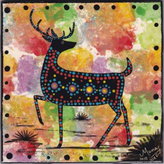 "6"" clay tile - deer looking back"