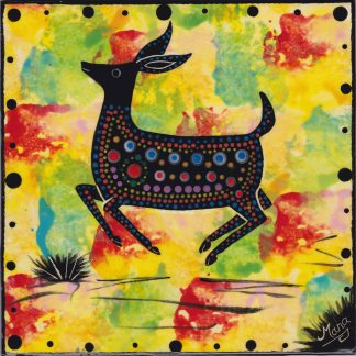 "6"" clay tile - jumping deer on bright yellow"