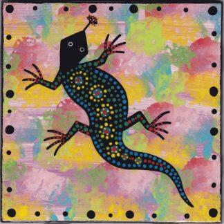"6"" clay tile - gecko on pink"