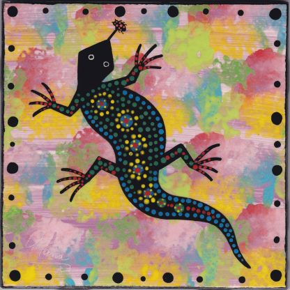 """6"""" clay tile - gecko on pink"""