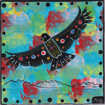 """Mana Pottery 6"""" clay tile with hawk with spread wings on turquoise blue"""