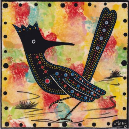 """Mana Pottery 6"""" clay tile with road runner on gold."""