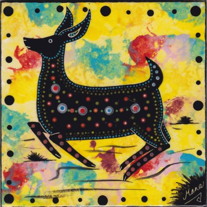 "6"" clay tile - running deer on bright yellow"