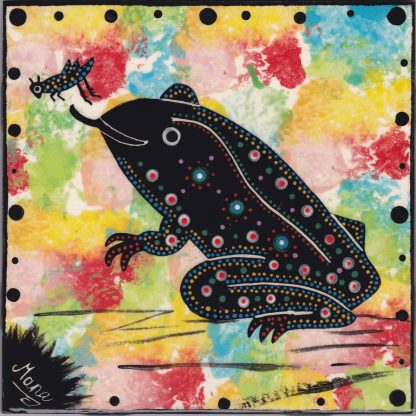 "Mana Pottery 6"" clay tile with toad on confetti background."