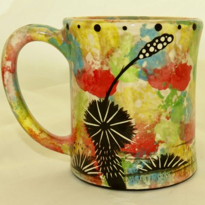 Ear handle mug, armadillo, confetti background - REVERSE showing Aravaipa vegetation