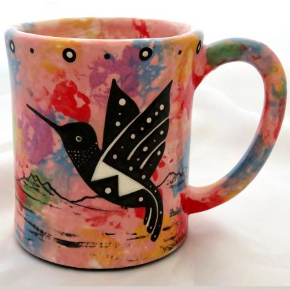 Ear-shaped handle mug, hummingbird, pink background