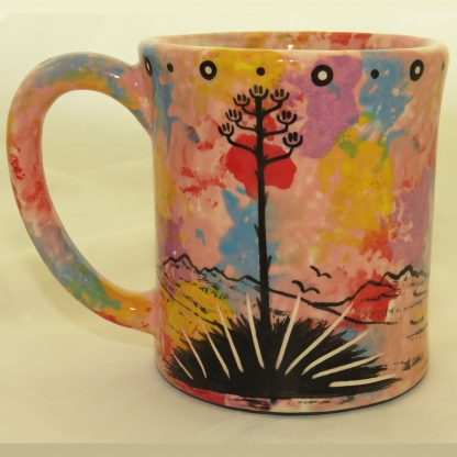 Ear-shaped handle mug, hummingbird, pink background - REVERSE, showing Aravaipa vegetation