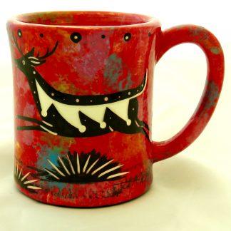 Ear-shaped handle mug with running deer on crimson