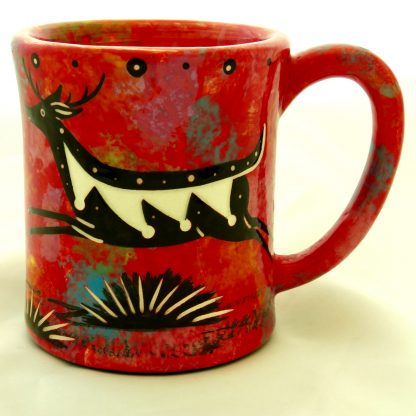 Ear-shaped handle mug with running deer on crimson
