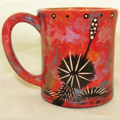 Ear-shaped handle mug with running deer on crimson - REVERSE, showing Aravaipa vegetation