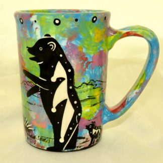 Large mug with bear on turquoise blue