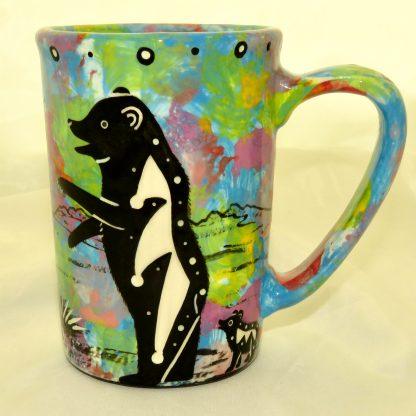 Large mug with bear on turquoise blue
