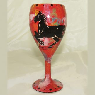 Wine glass with horse on crimson