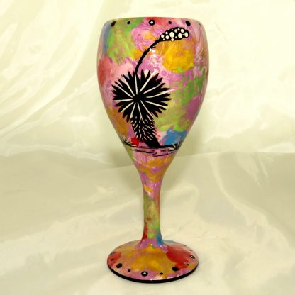 Wine glass with hummingbird on purple - REVERSE, showing Aravaipa vegetation