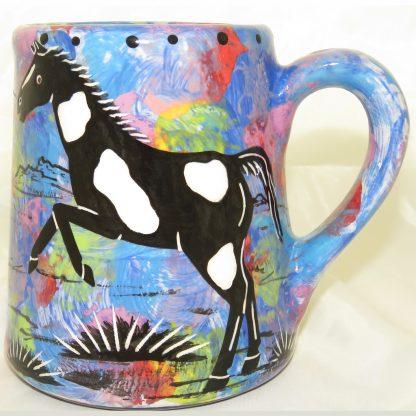 Extra large mug with horse on blue