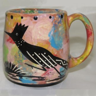 Mana Pottery Country Cup featuring road runner on pink