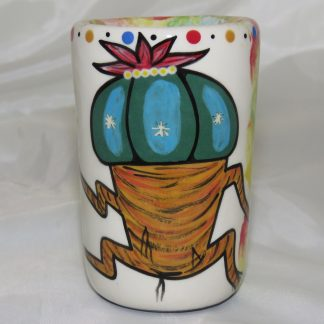 Mana Pottery clay shot glass featuring Dancing Peyote on one side and schematic design on reverse