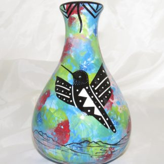 Mana Pottery Teardrop Vase with hummingbird on one side and native Aravaipa vegetation on reverse, on a background of turquoise blue.