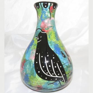 Mana Pottery Teardrop Vase with quail family on one side and native Aravaipa vegetation on reverse, on a background of green