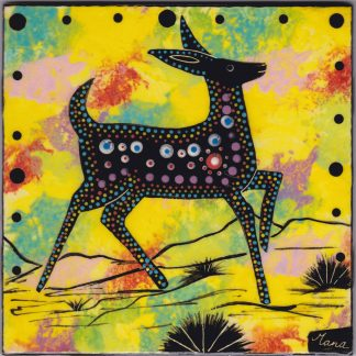 "Mana Pottery 6"" clay tile featuring deer on bright yellow backround"