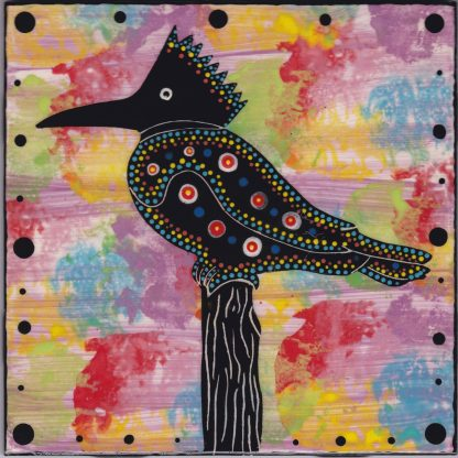 """Mana Pottery 6"""" clay tile featuring kingfisher on purple backround"""