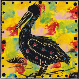 "Mana Pottery 6"" clay tile featuring pelican on bright yellow backround"