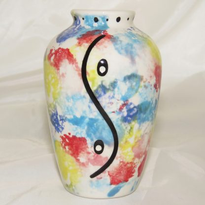 """Mana Pottery 5"""" vase with Dancing Peyote. Image shows reverse side."""
