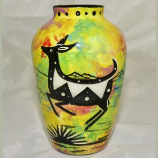 "Mana Pottery 5"" vase with jumping deer on one side and native Aravaipa vegetation on reverse, on bright yellow background."