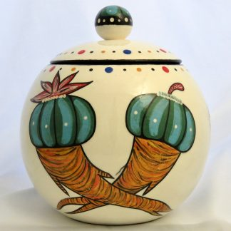 Mana Pottery canister with Peyote roots on one side and Firebird on reverse and confetti interior.