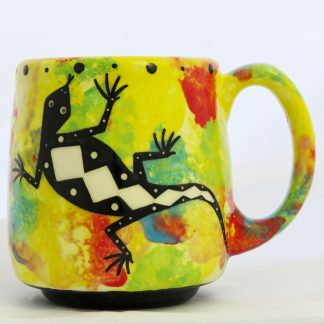 Mana Pottery Country Cup featuring gecko on bright yellow