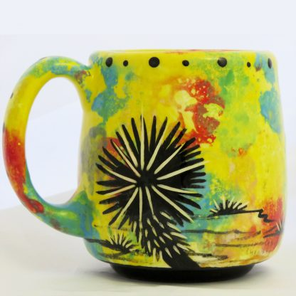 Mana Pottery Country Cup featuring gecko on bright yellow (reverse side shows Aravaipa vegetation)