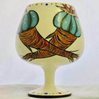 Mana Pottery chalice with two Peyote roots and Firebird on reverse
