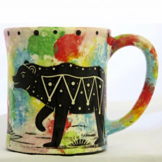 Mana Pottery e-mug with bear on confetti background