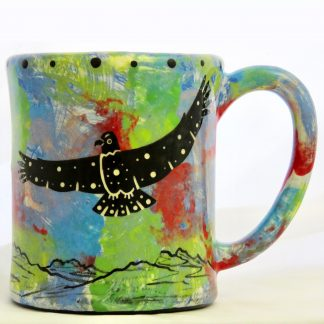 Mana Pottery e-mug with hawk on blue background