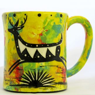 Mana Pottery e-mug with running deer on bright yellow background