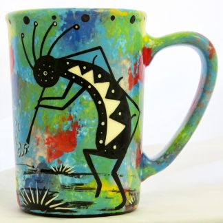 Large mug with kokopelli on turquoise blue
