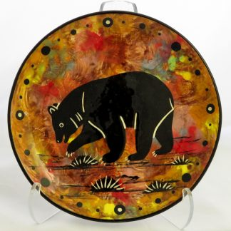 Mana Pottery 6-inch plate with bear on chocolate.