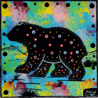 Mana Pottery bear design on 6 inch clay tile