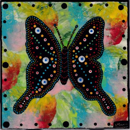 Mana Pottery butterfly design on 6 inch clay tile