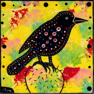 Mana Pottery cactus wren design on 6 inch clay tile