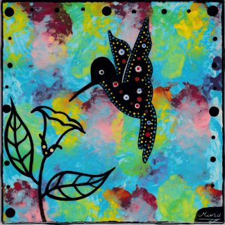 Mana Pottery hummingbird design on 6 inch clay tile