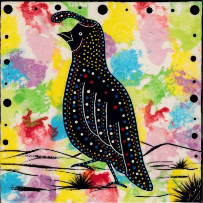 Mana Pottery quail design on 6 inch clay tile